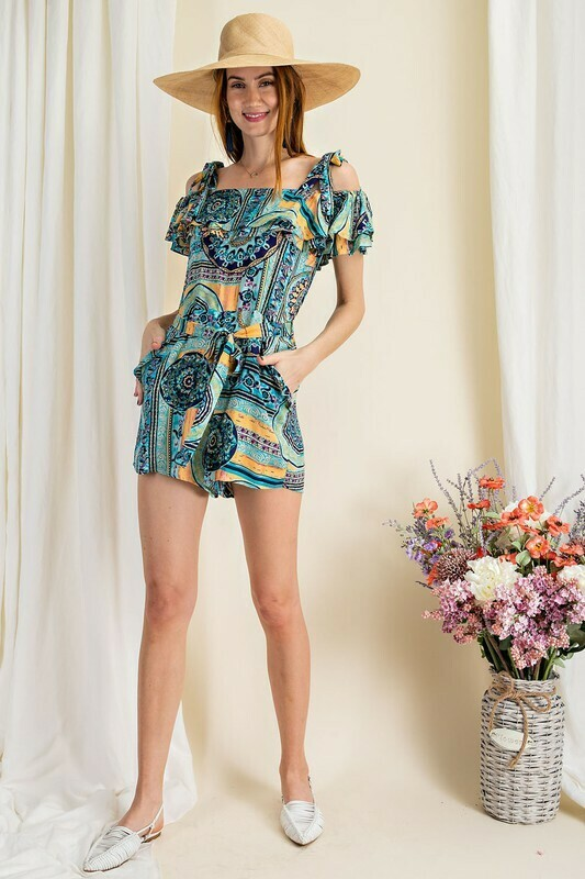Trible printed rayon romper