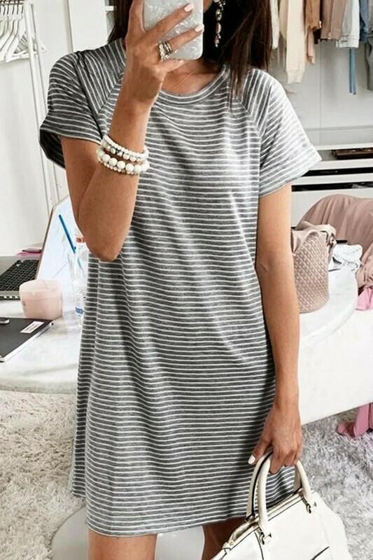 Grey Strp T-Shirt Dress