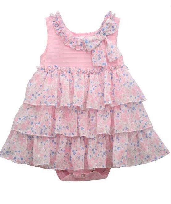 Pink Floral Ruffle Dress