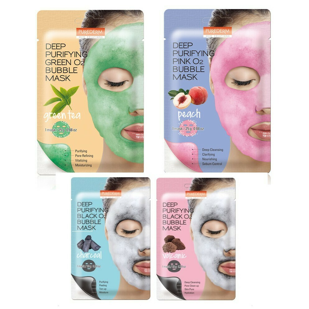 PUREDERM Deep Purifying Green O2 Bubble Mask 5 Types 25g * 1pcs