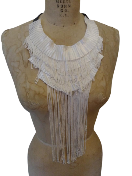 Pleated & fringed tie back satin necklace