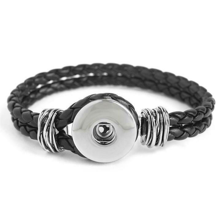 1 Snap Black Double Braided Bracelet