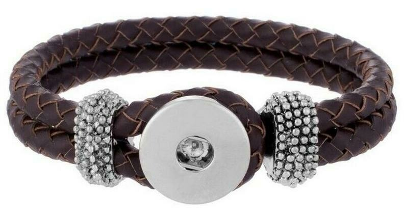 1 Snap Brown Double Braided Bracelet