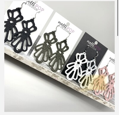 Delicate Leather Lace Cut Out Earrings