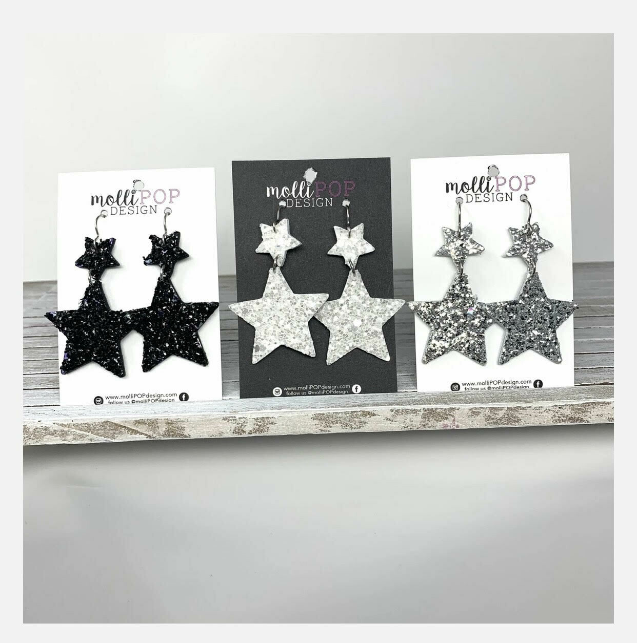 Sparkle Star Leather Earrings