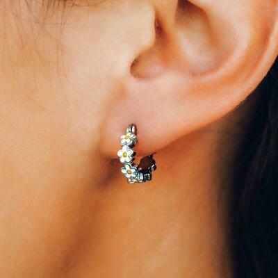Painted Blooms Hoop Earrings