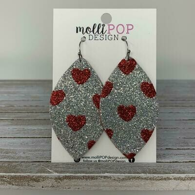 Silver/Red Heart Leaf Large