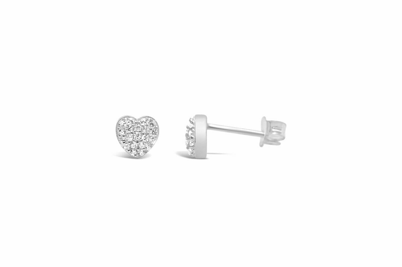 Pave Heart Stud Earring