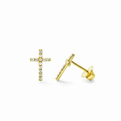 Pave Cross Stud Earring