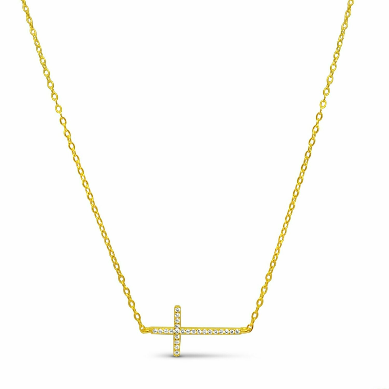 Sideways Skinny Cross Necklace
