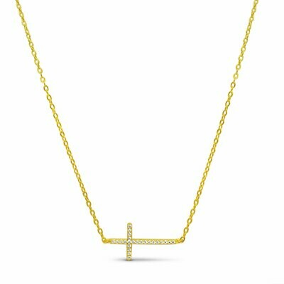 Sideways Skinny Cross Necklace