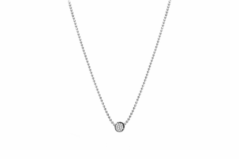 Mini Pave Disk Slider Necklace