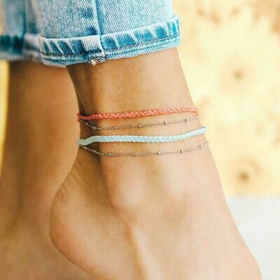 Satellite Chain Anklet Salmon