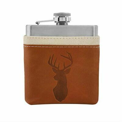 Deer Canvas Flask - Buck Leather