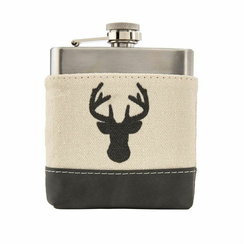 Deer Canvas Flask - Buck Canvas