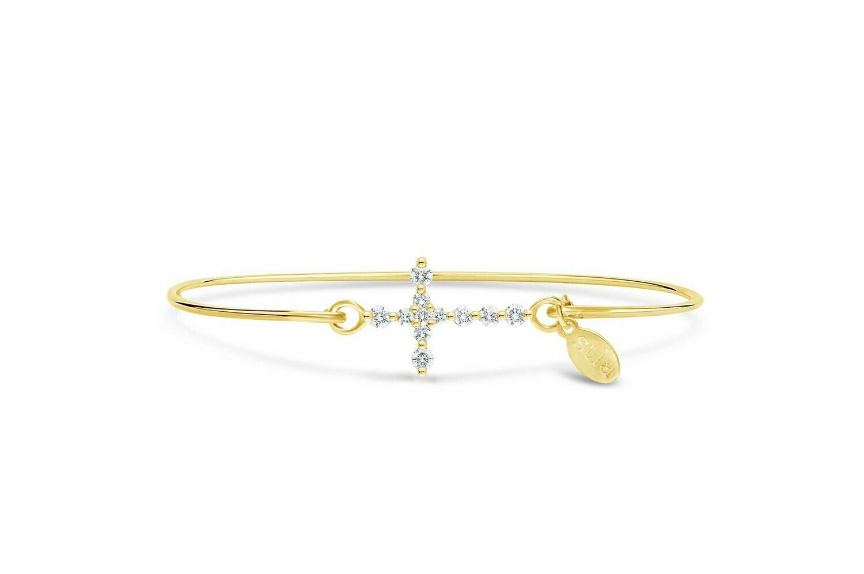 Pave Icon Bracelet Diamond Prong Cross