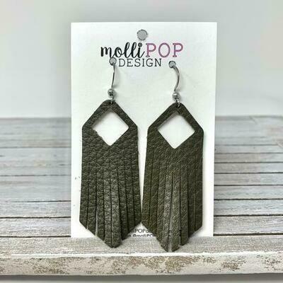 Leather Fringe Earrings - Olive