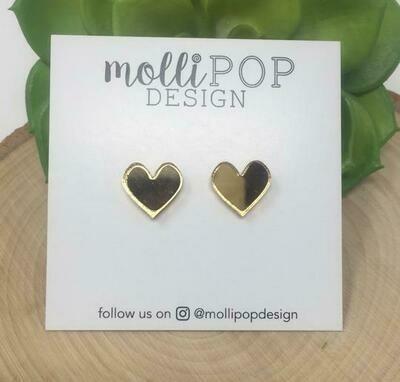 Mirrored Heart Studs - Gold