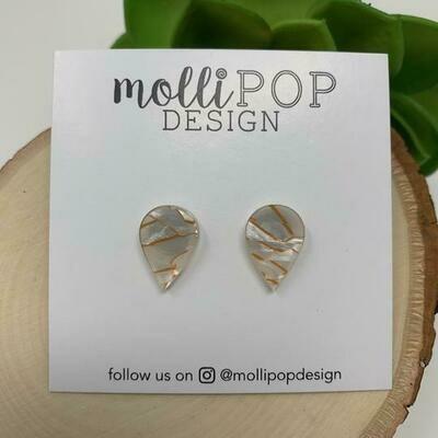 Teardrop Tunnel Earrings White