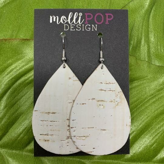 White Birch Cork LG Earrings