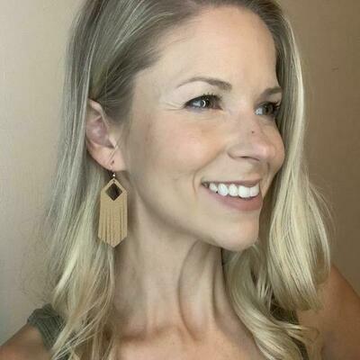 Leather Fringe Earrings - Tan