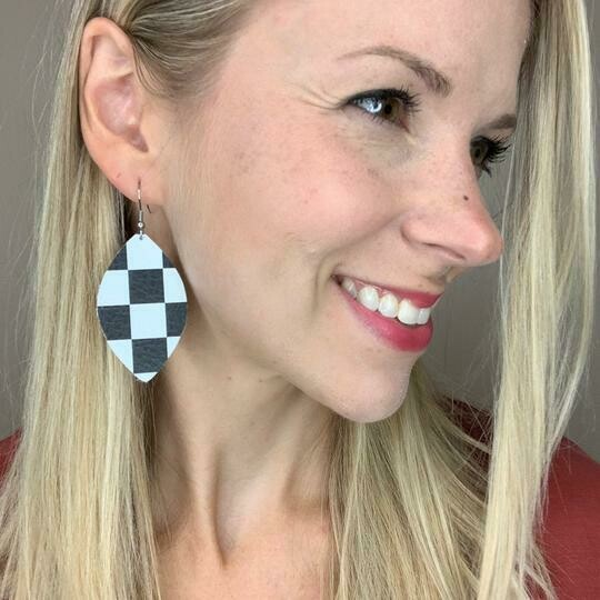 B&W Check Leather Earrings