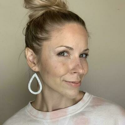 White Glitter Cutout Earrings