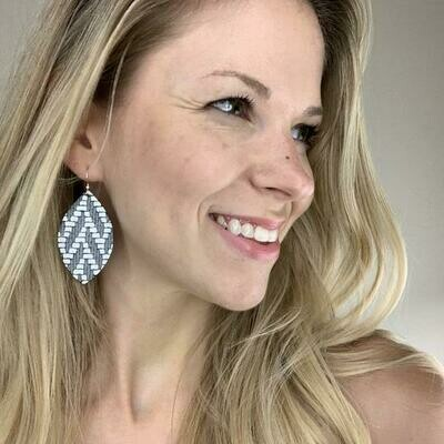 Chevron Leather Leaf Earrings - Charcoal & White