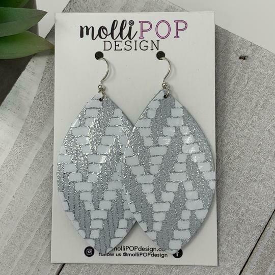 Chevron Leather Leaf Earrings - Silver & White
