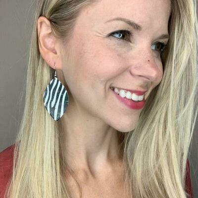 Zebra Cork Leaf Earrings