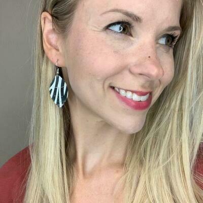Small Zebra Cork Leaf Earrings