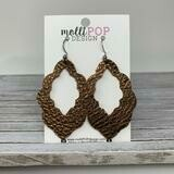 Scalloped Edge Leather Earrings - Brown