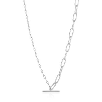 Mixed Link T-Bar Necklace Silver