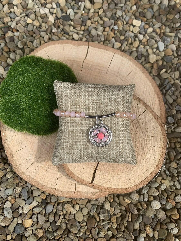 Pink Facet Bar Bracelet w/ GingerSnap