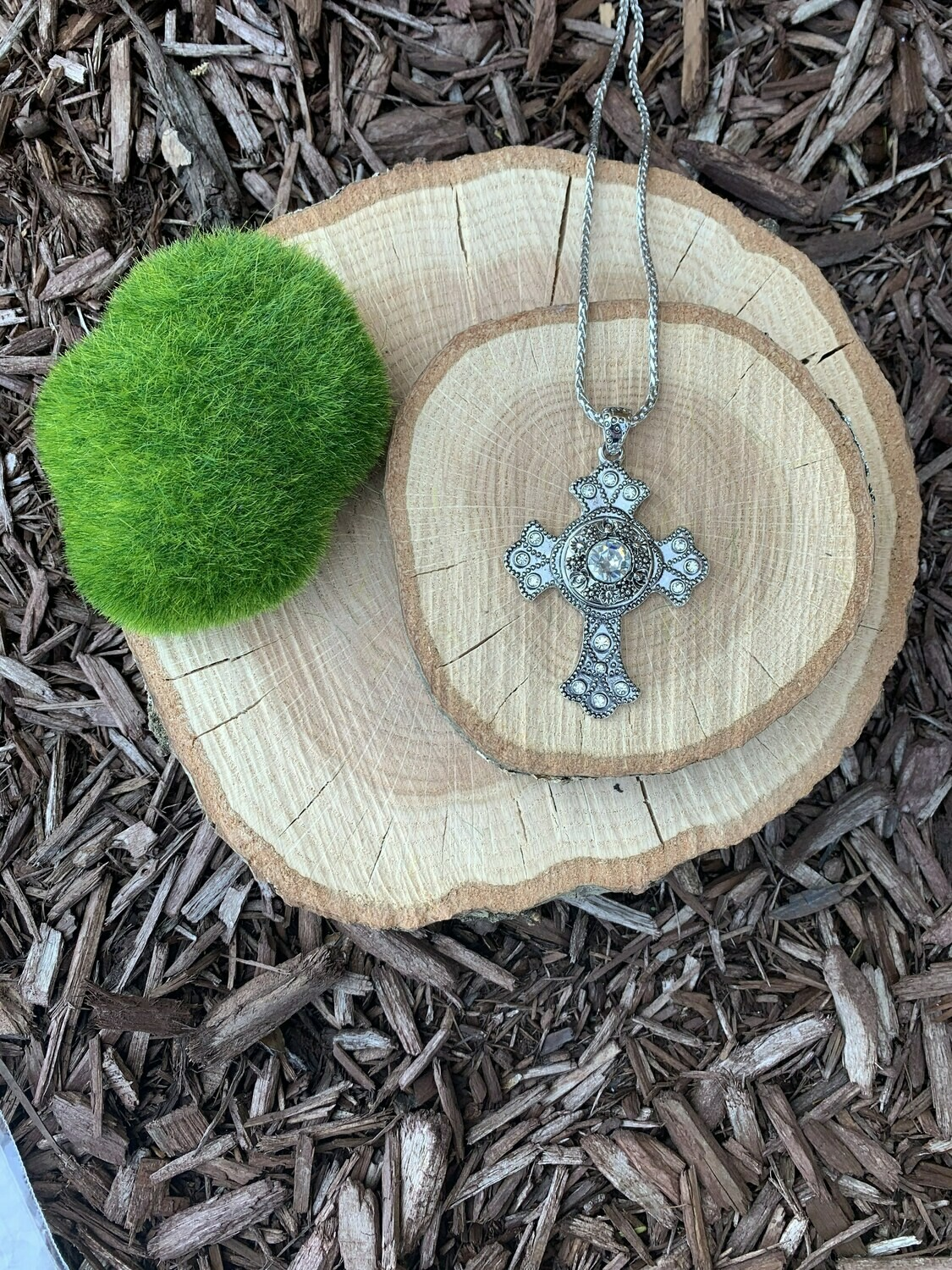 Bling Cross Necklace w/ Snap