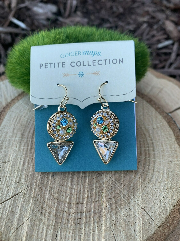 Petite Diamond Drop Earrings-Gold w/Snaps