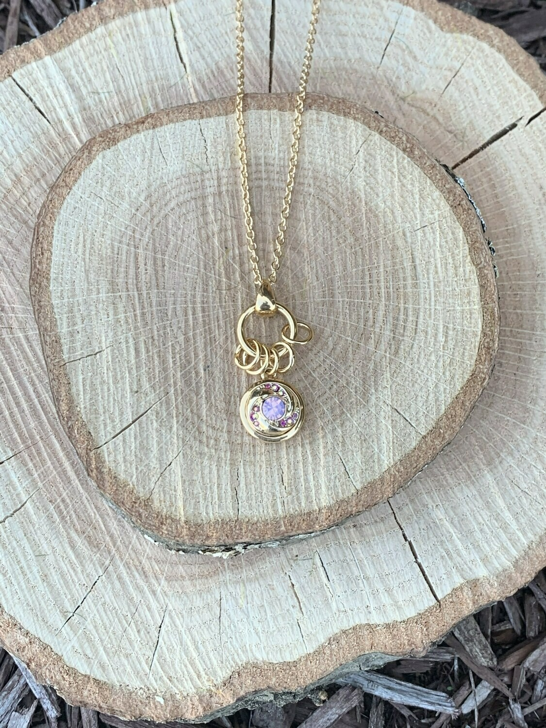Petite Gold Whirlwind Necklace w/Snap