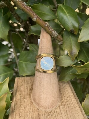 Gold Open Shank Ring - White Opal