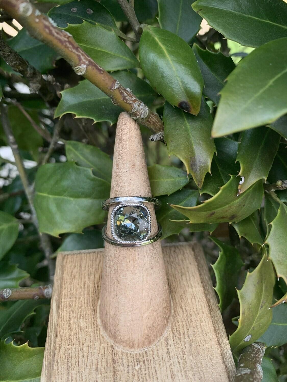 Open Shank Rhodium Ring - Black Diamond