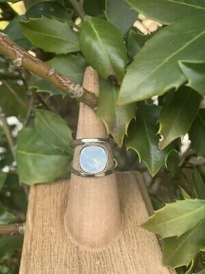 Open Shank Rhodium Ring - White Opal