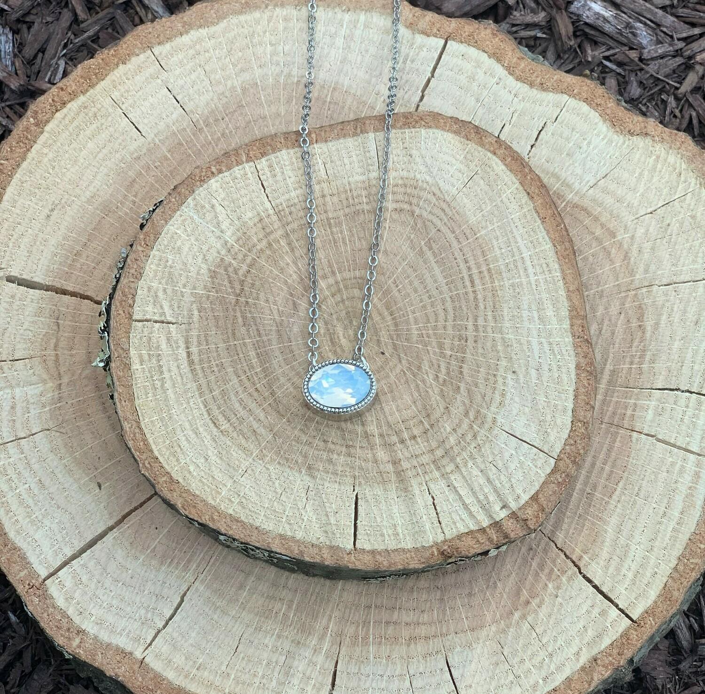Rhodium Oval Pendant - White Opal
