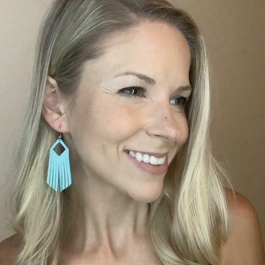 Leather Fringe Earrings - Blue