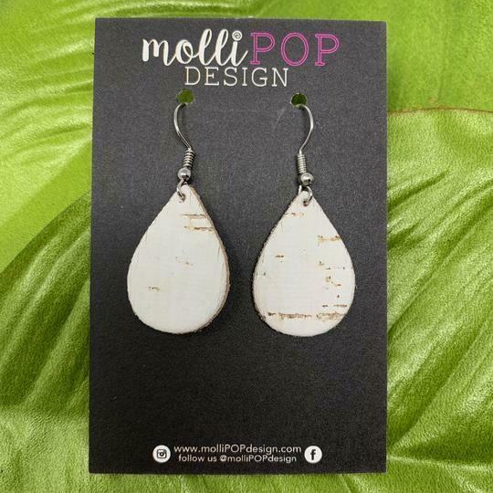 Mini White Birch Cork Teardrop Earrings