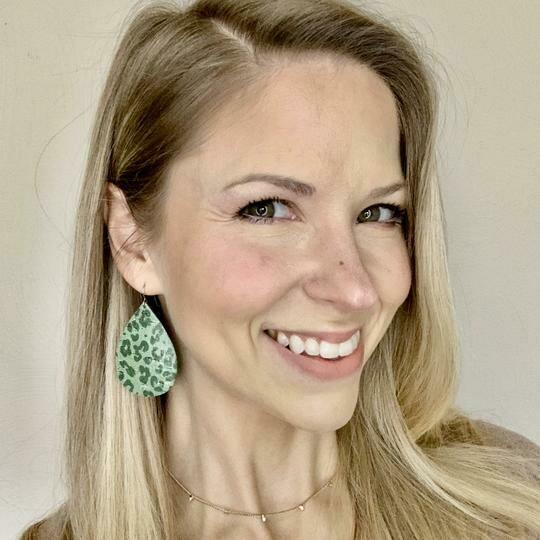 Olive Cheetah Teardrop Earrings