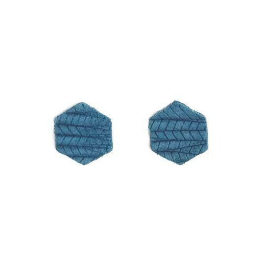 Teal Palm Hexagon Stud Earrings