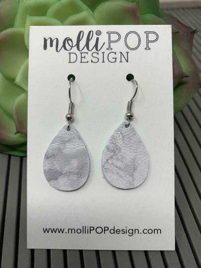 Mini White Marble Teardrop Earrings