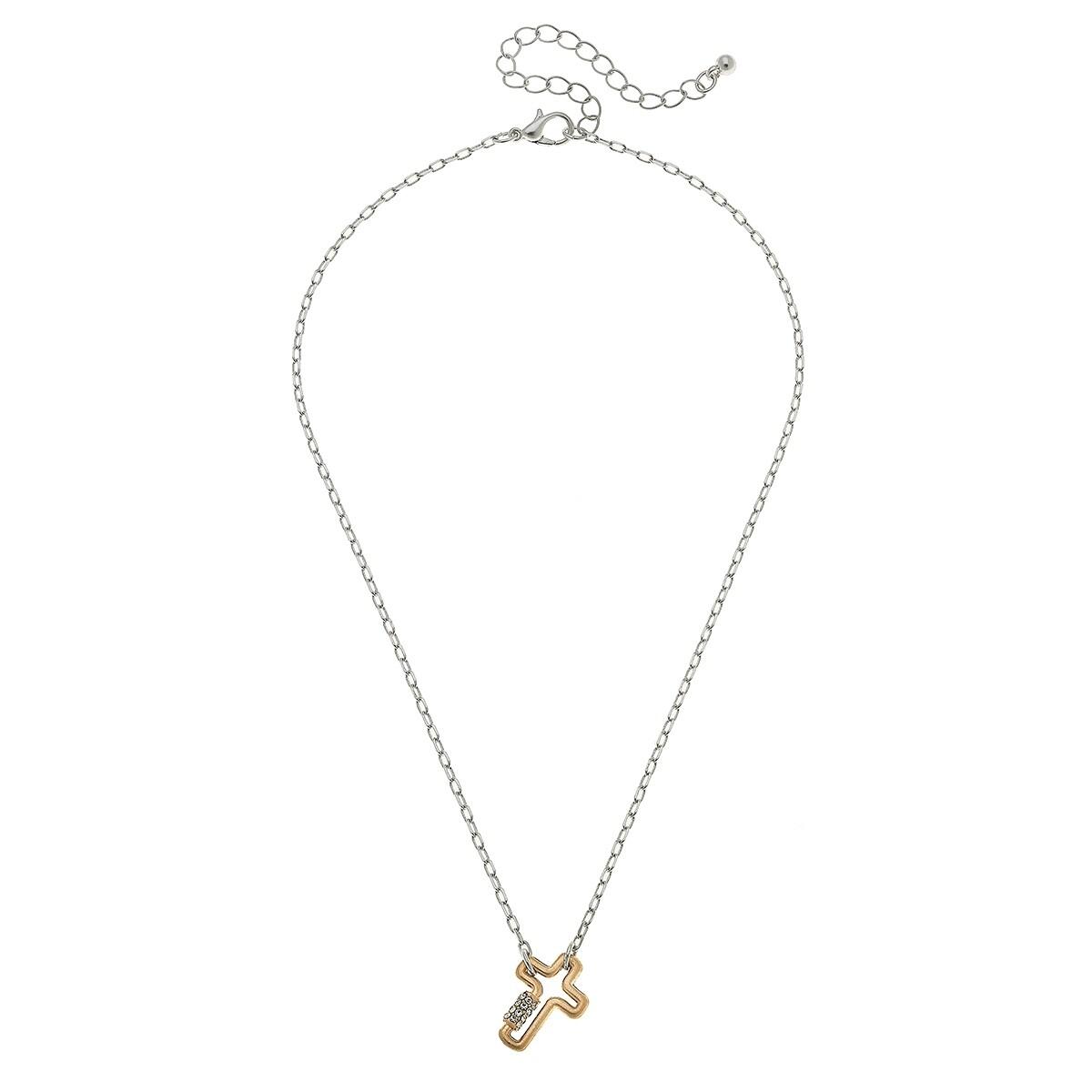 Leela Mini Cross Screw Lock Necklace