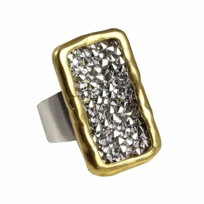 Brass Kristal Plate Ring  size 8