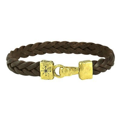 Unified Front Leather Bracelet - Brass Large
