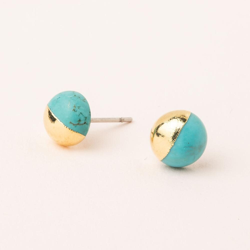 Dipped Stone Stud - Gold/Turquoise